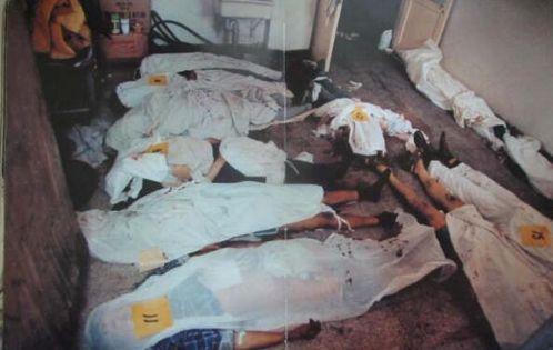 89年6月4日,北京邮电医院部分遇难者遗体。复兴医院、邮电医院、儿童医院