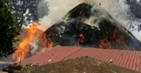 VIDEO; Kasubi Tombs Catch Fire Again, Police Intervene.