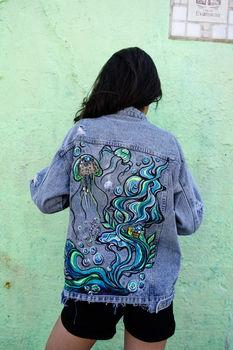 Sequin Painting Ocean Jean Jacket