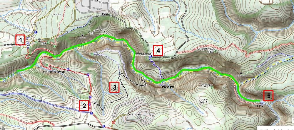 מפת המסלולים האפשריים בנחל כזיב בגליל המערבי