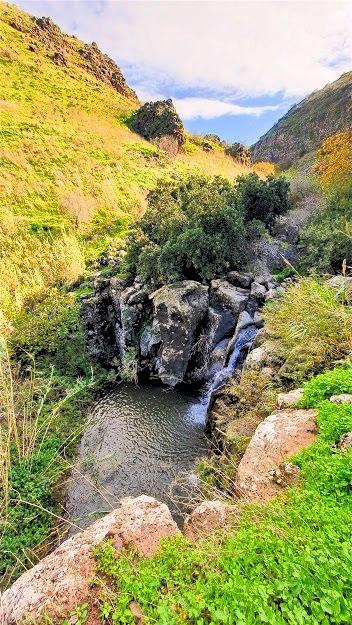 מפל מים ובריכה בנחל הגילבון ברמת הגולן