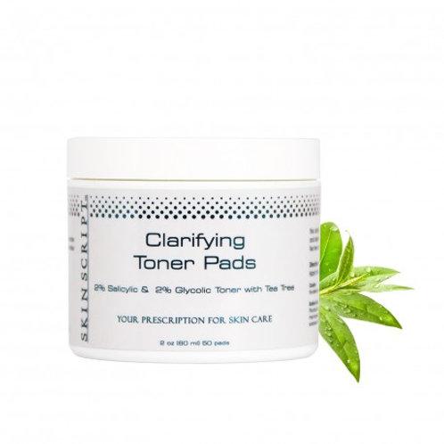 Skin Script ClarifyingToner Pads w/2% Salicylic & 2% Glycolic w/Tea Tree 50 pads