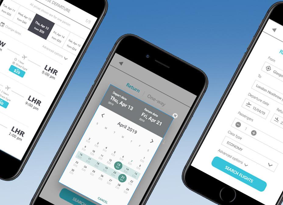 Airline mobile app prototype