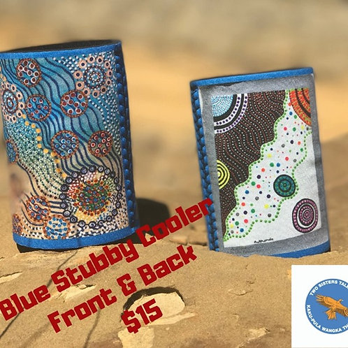 Blue Aboriginal Stubby Cooler