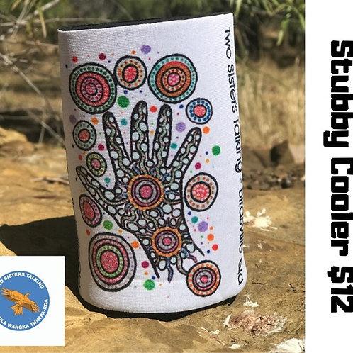 White Aboriginal Stubby Cooler