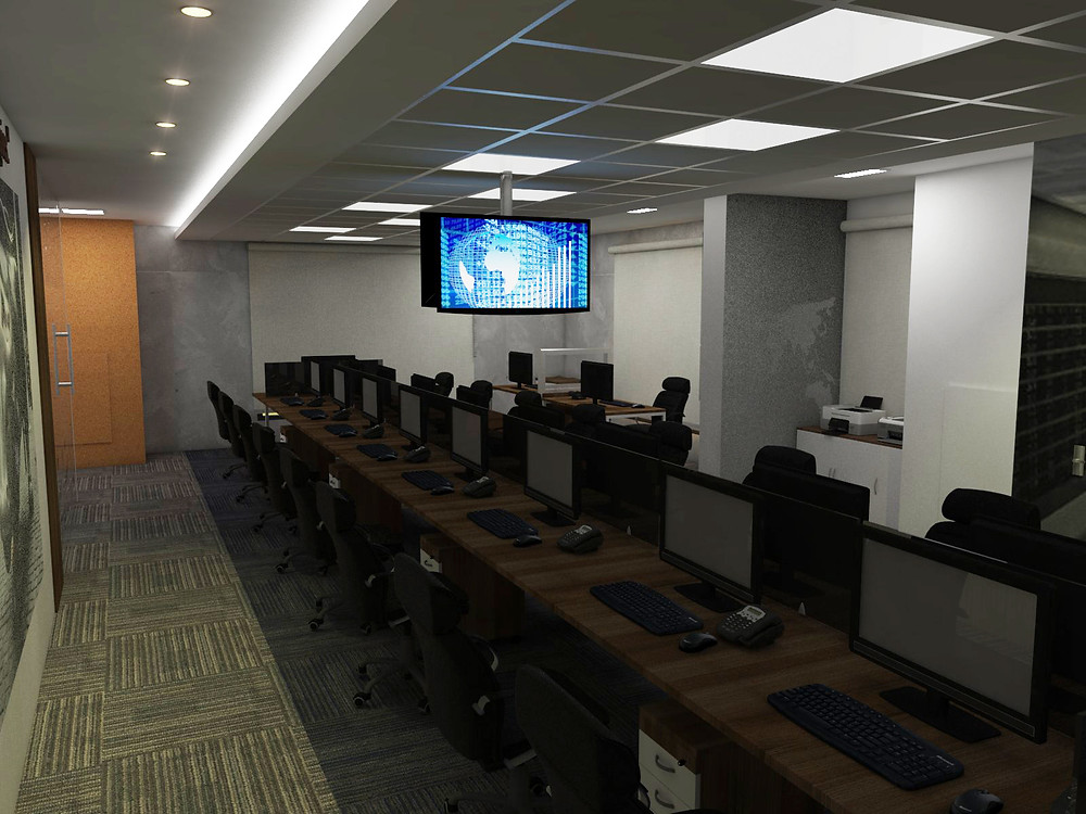 Sala operacional com produtos ergonômicos projetada pela Fabio Rocha Arquitetura.