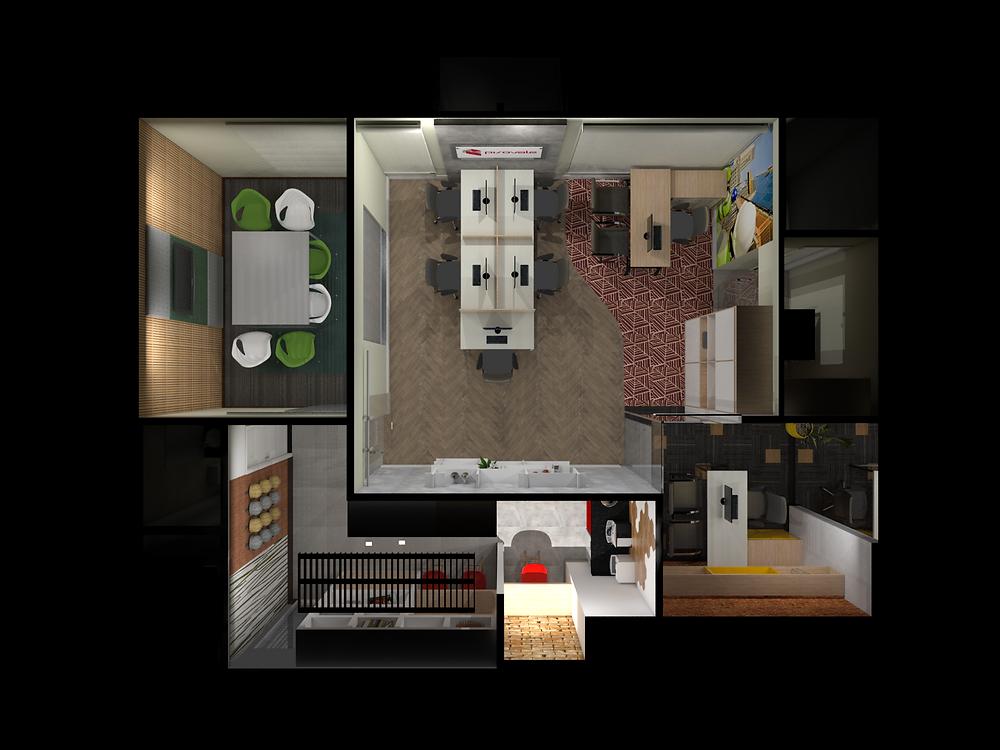 Projeto de espaço integrado pelo piso para Pisovale.