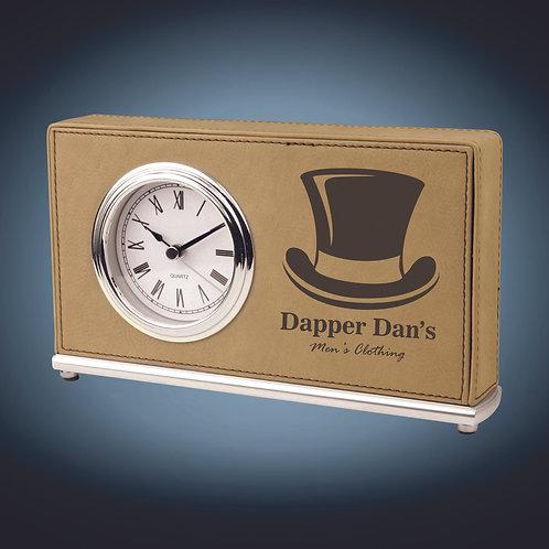Laserable Leatherette Horizontal Desk Clock