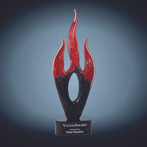 Red & Black Flame Art Glass