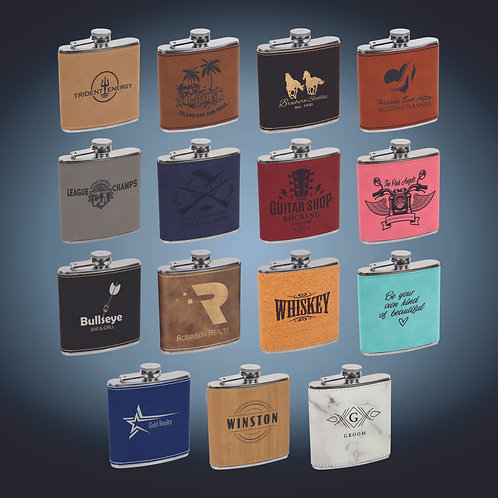 6 oz. Laserable Leatherette Stainless Steel Flask