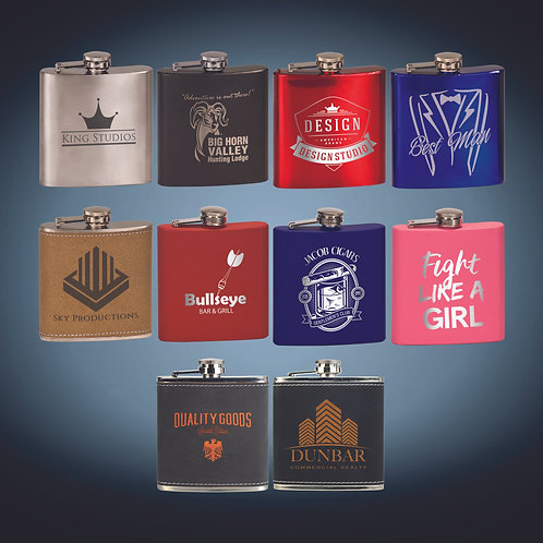 6 oz. Laserable Stainless Steel Flask
