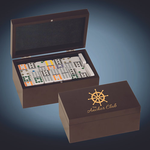 Rosewood Finish Double Twelves Dominos Set with 92 Dominos