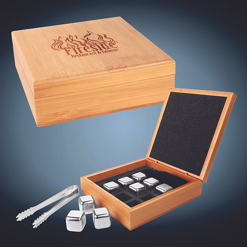 Stainless Steel Whiskey Stone Set in Bamboo Case
