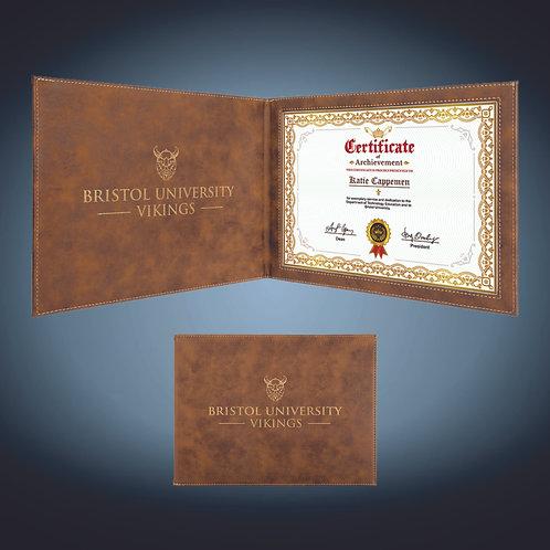 Laserable Leatherette Certificate Holder