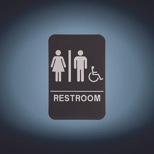 "Kota Pro ADA 6"" x 9"" Unisex (w/wheelchair) Accessible Restroom Sign"