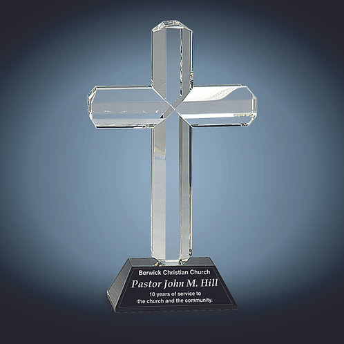 Crystal Cross on Pedestal Base