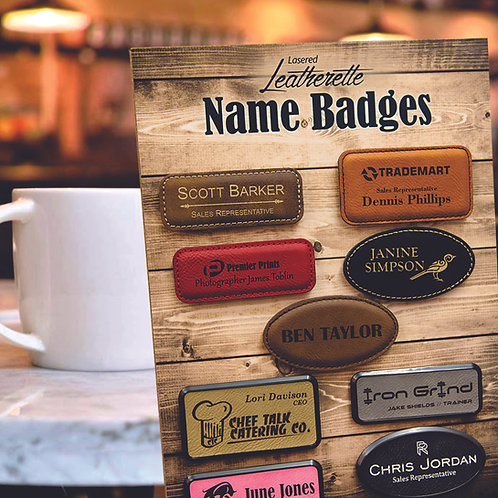 Laserable Leatherette Badge Blank with Magnet