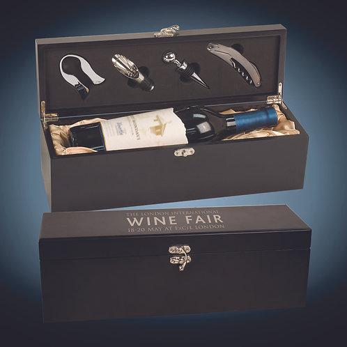 Matte Black Finish Single Wine Box with Tools
