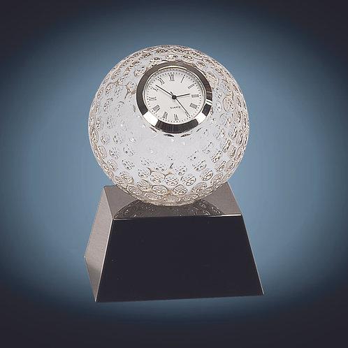 Clear Crystal Golf Ball Clock with Black Pedestal Base