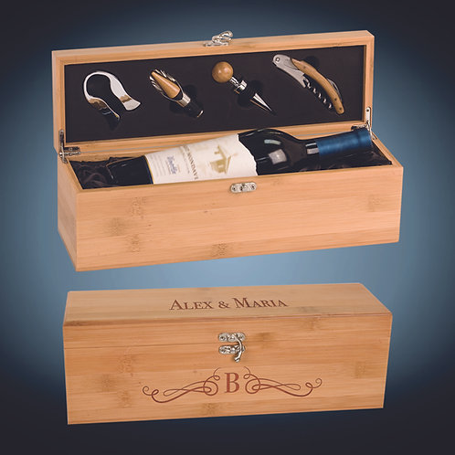 Bamboo Single Wine Box with Tools