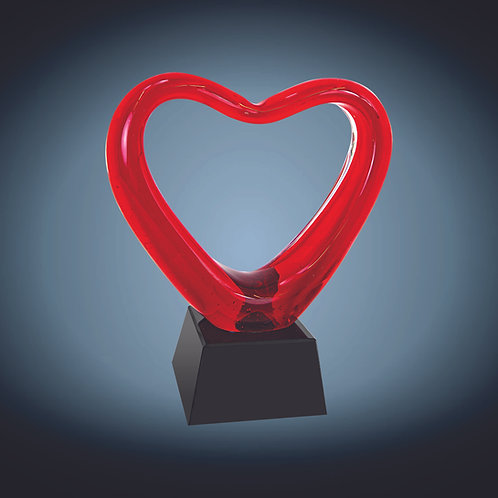 Red Heart Art Glass with Black Base
