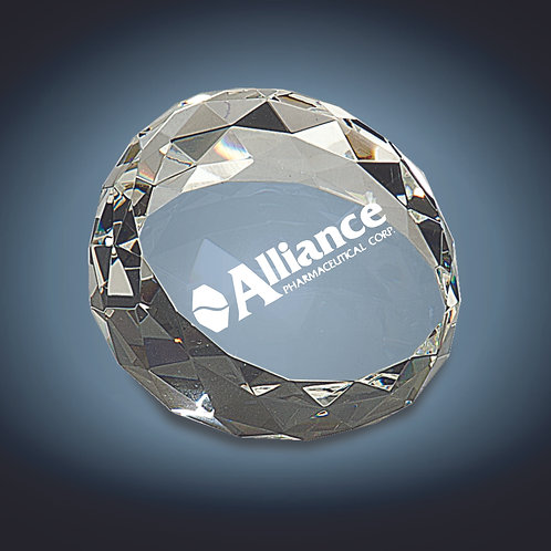 Clear Round Crystal Facet Paperweight