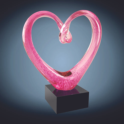 Pink Glass Heart with Black Base