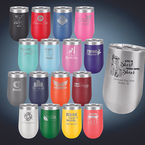 16 oz. Vacuum Insulated Stemless Tumbler w/Lid