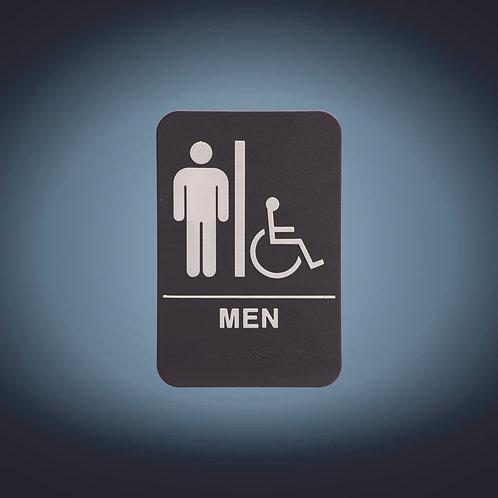 "Kota Pro ADA 6"" x 9"" Men (w/wheelchair) Accessible Restroom Sign"