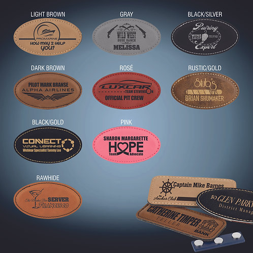 Laserable Leatherette Oval Badge Blank with Magnet