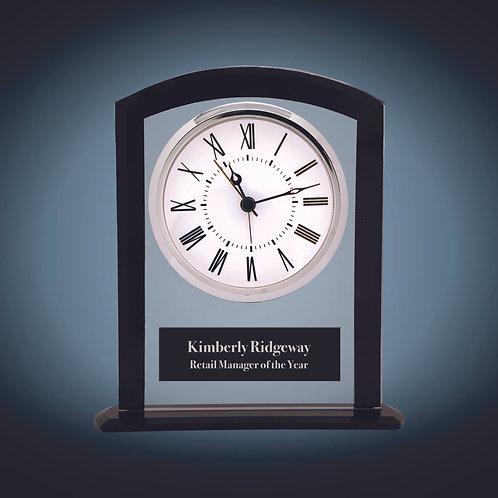 Black/Clear Glass Square Arch Clock