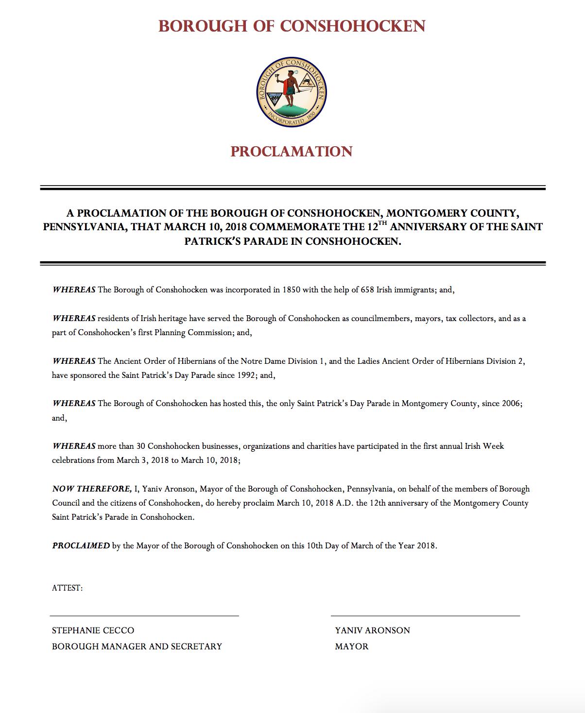 Parade Proclamation