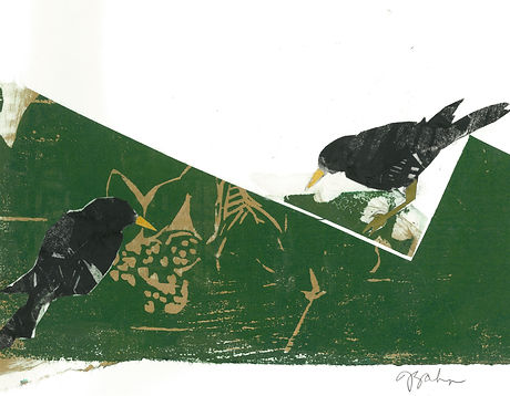 Two starlings on gold and green (2).jpg