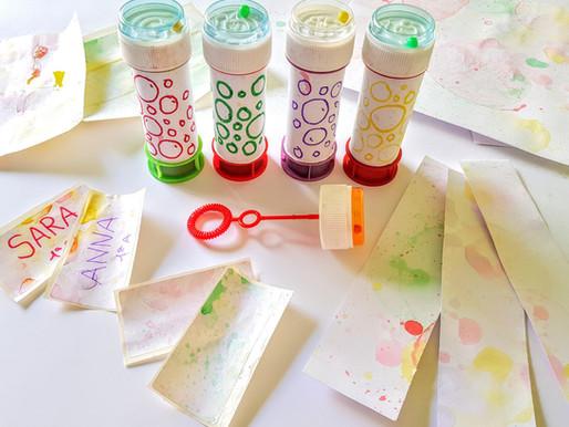 Etichette decorate con bolle di sapone