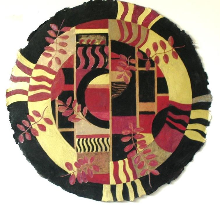 Artist Pamela Tarbell Oil on handmade paper  36 inches in diameter