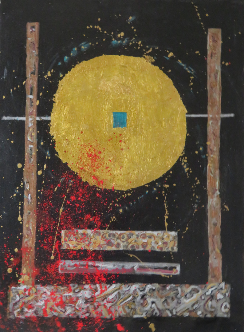 Artist Pam Tarbell  Oil and metallic foil on paper 30 x 22 inches