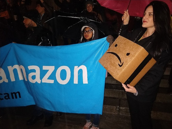 New York residents protest against new Amazon headquarters fearing online giant will force locals fr