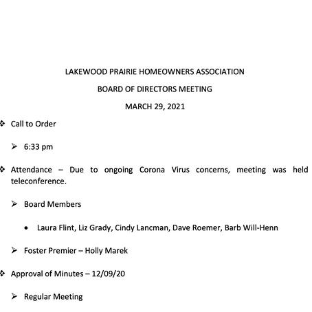Lakewood Prairie March 21, 2021 Meeting Minutes