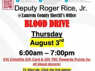 Deputy Roger Rice, Jr. Blood Drive