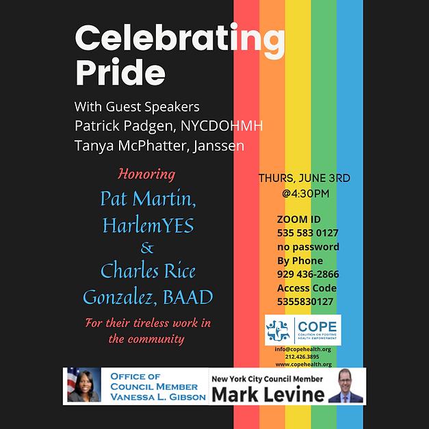 Pat Martin -COPE Pride Program June 3rd