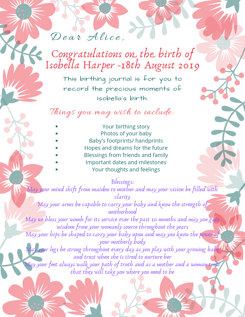 Birthing Journal Insert