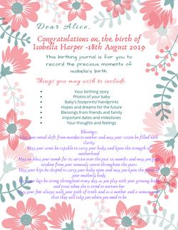 Birthing Journal Insert