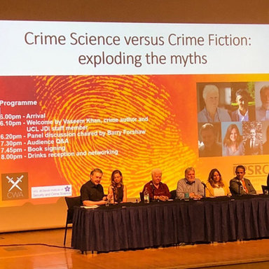 Crime Science v Crime Fiction panel discussion with crime fiction writers Val McDermid, Vas Khan, Elly Giffiths, Imran Mahmood