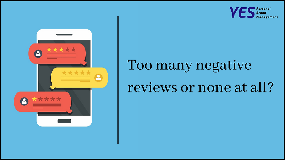 Reviews on mobile phones on azure background and title Too many negative reviews or none at all by YESpbm
