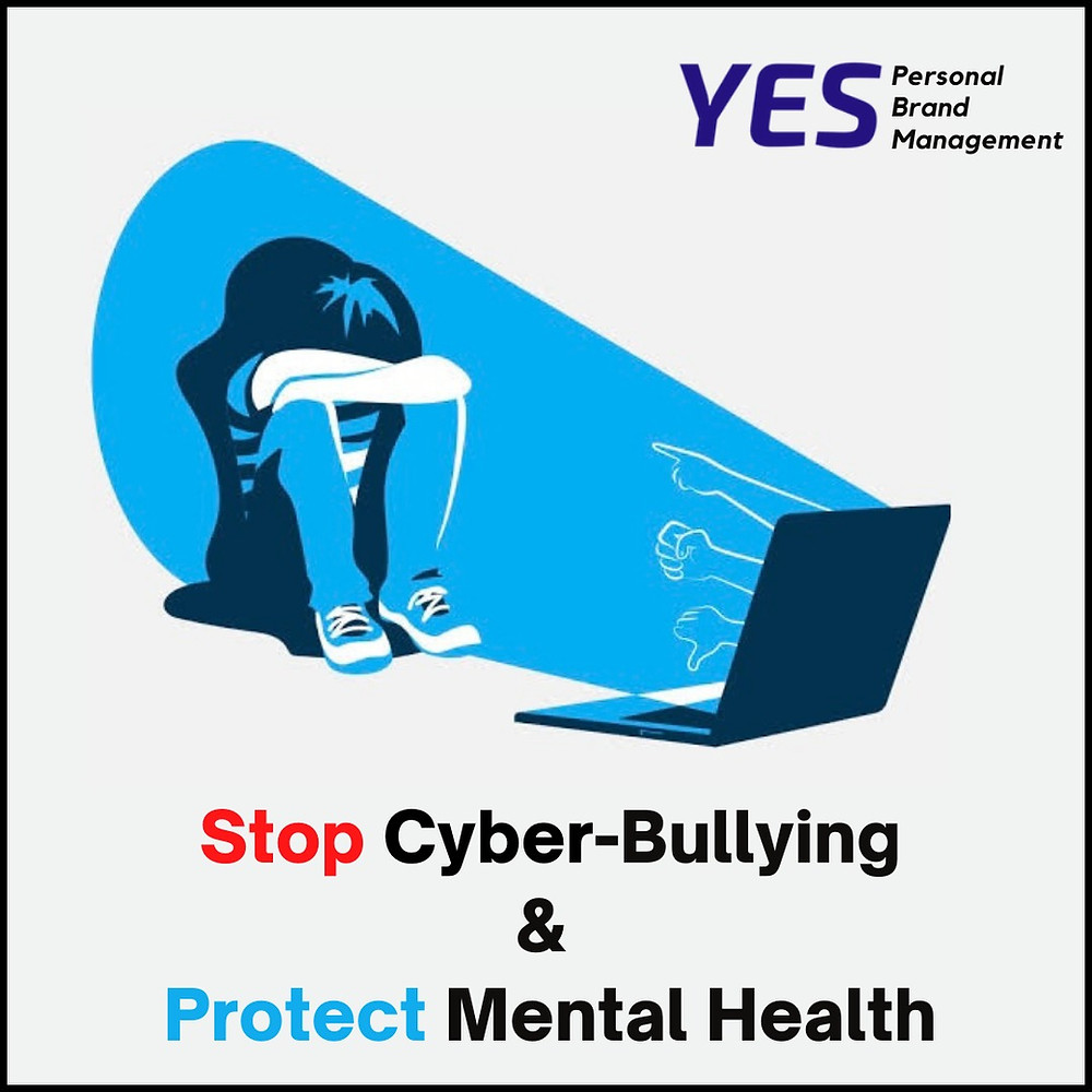 Image on Stop Cyber Bullying and protect mental health poster by YESpbm