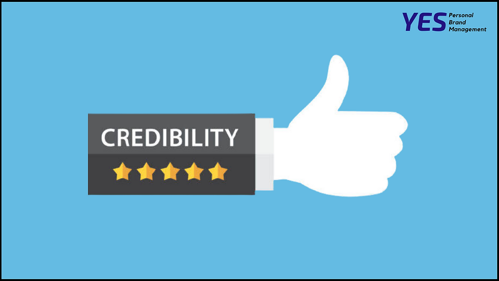 Thumb ups with the text Credibility on the sleeves with 5 golden star on azure background