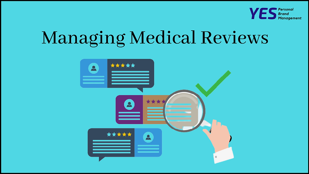 Comment seen under microscope on azure background with title Managing Medical Reviews by YESpbm