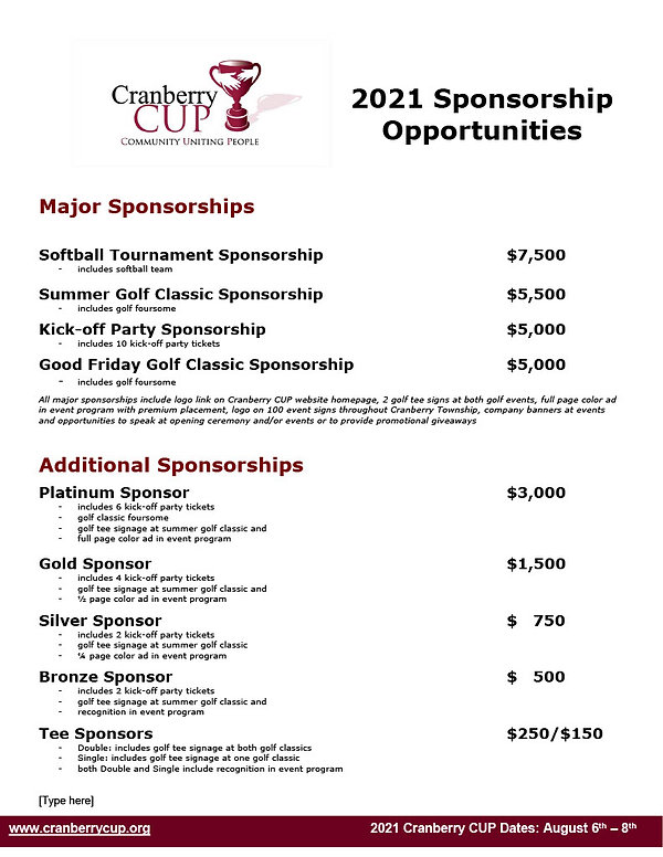 Cranberry CUP 2021 Sponsorships NEW!1024