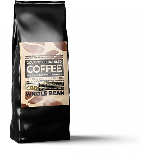 CBD Infused Whole Coffee Beans 100g Bag