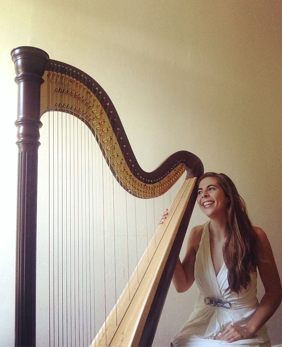 Happy harpist